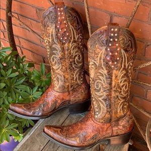 OLD GRINGO Saddle Brown Flame Tooled Inlay Boots